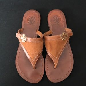 Authentic Tory Burch suede upper thong sandal